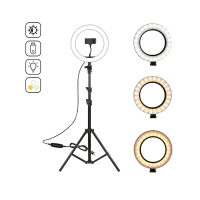 The ring light comes with long tripod stand & cell phone holder,
